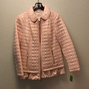 Kate Spade quilted ruffle-hem jacket in pink